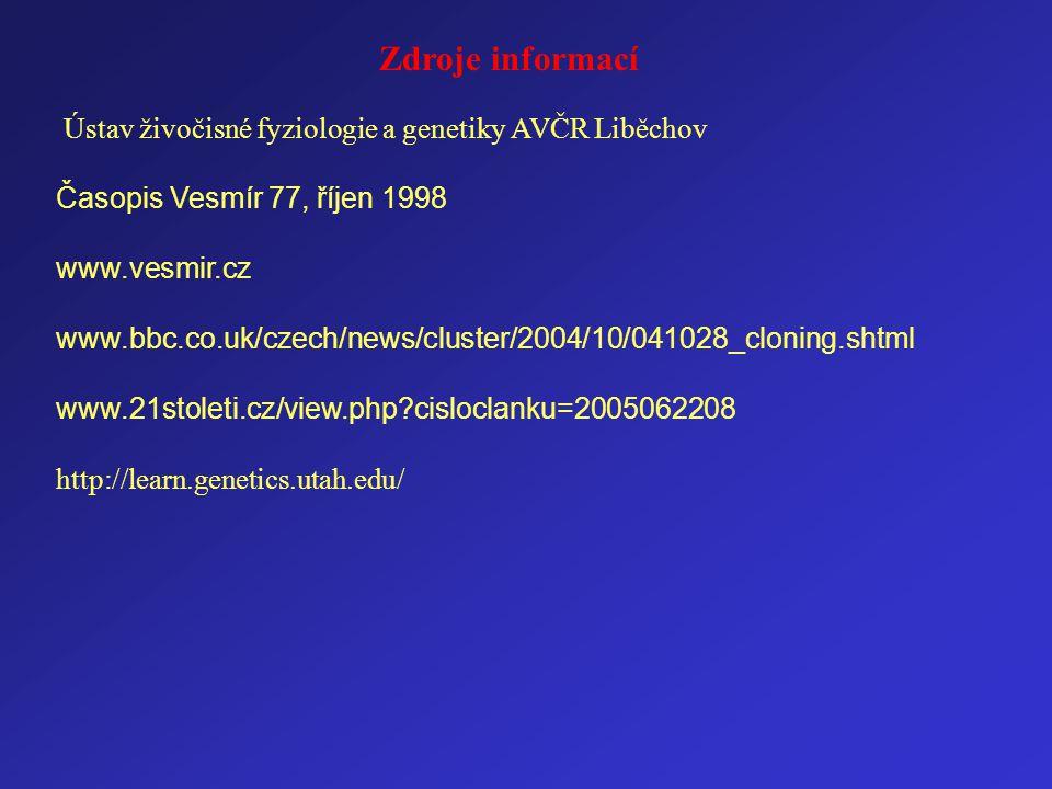 Zdroje informací Ústav živočisné fyziologie a genetiky AVČR Liběchov Časopis Vesmír 77, říjen 1998 www.vesmir.cz www.bbc.co.uk/czech/news/cluster/2004