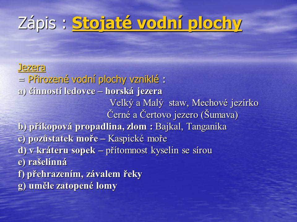 rybníky : = vodní plochy uměle vytvořené člověkem za účelem chovu ryb - největší koncentrace v Třeboňské a Českobudějovické pánvi Českobudějovické pánvi - největší rybník v ČR, Rožmberk (492 ha )