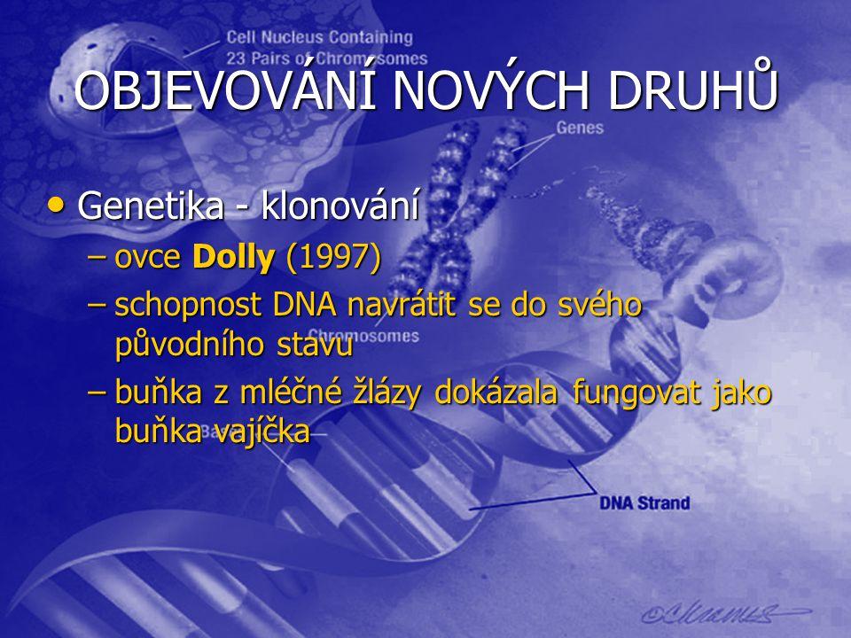 OBJEVOVÁNÍ NOVÝCH DRUHŮ Genetika - klonování Genetika - klonování –ovce Dolly (1997) –schopnost DNA navrátit se do svého původního stavu –buňka z mléčné žlázy dokázala fungovat jako buňka vajíčka