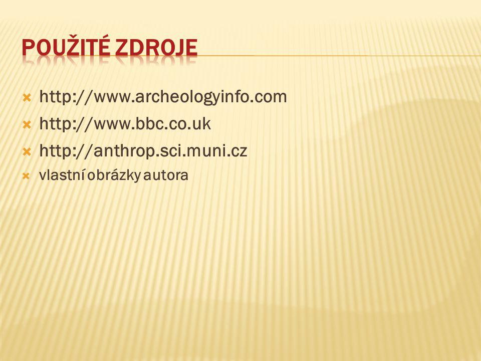  http://www.archeologyinfo.com  http://www.bbc.co.uk  http://anthrop.sci.muni.cz  vlastní obrázky autora