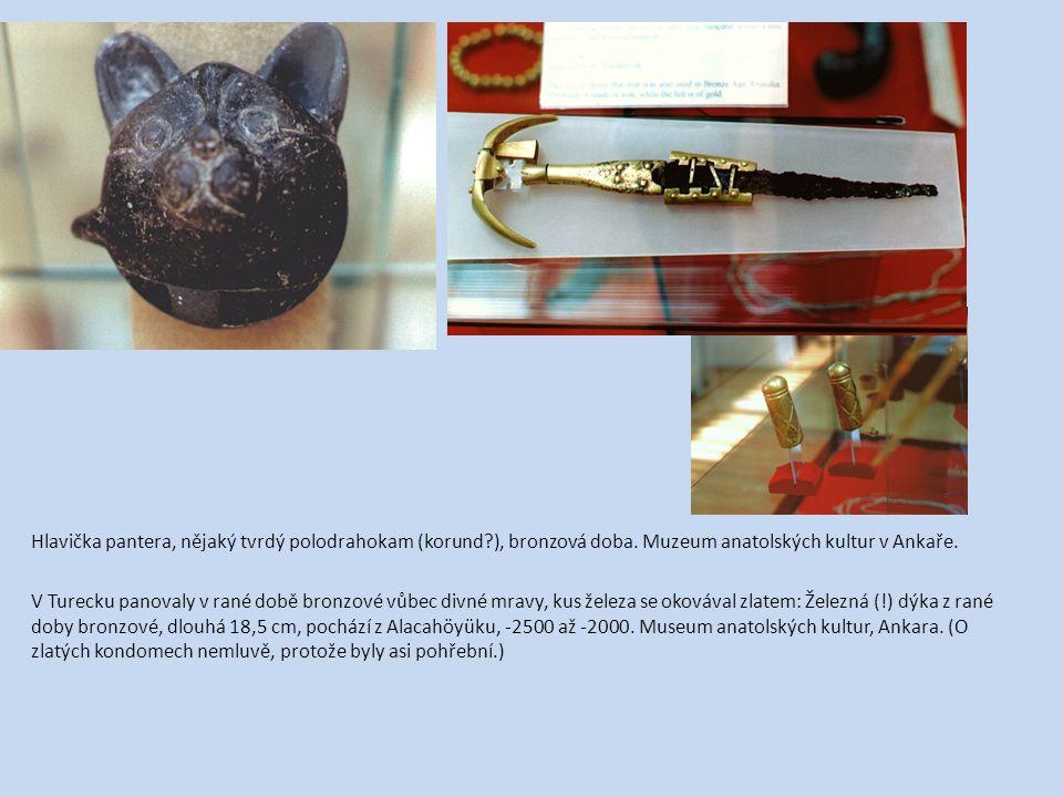 Hlavička pantera, nějaký tvrdý polodrahokam (korund?), bronzová doba. Muzeum anatolských kultur v Ankaře. V Turecku panovaly v rané době bronzové vůbe