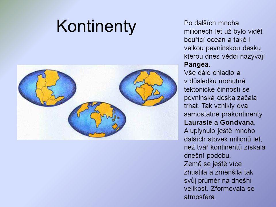 Kontinenty Po dalších mnoha milionech let už bylo vidět bouřící oceán a také i velkou pevninskou desku, kterou dnes vědci nazývají Pangea. Vše dále ch