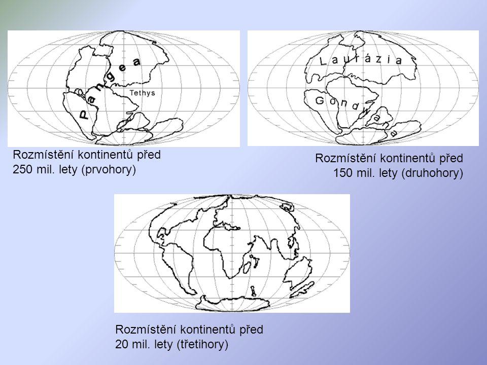 Rozmístění kontinentů před 250 mil. lety (prvohory) Rozmístění kontinentů před 150 mil. lety (druhohory) Rozmístění kontinentů před 20 mil. lety (třet