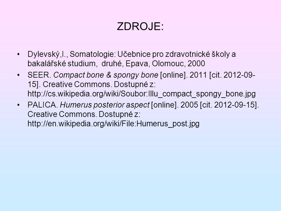 ZDROJE: Dylevský,I., Somatologie: Učebnice pro zdravotnické školy a bakalářské studium, druhé, Epava, Olomouc, 2000 SEER.