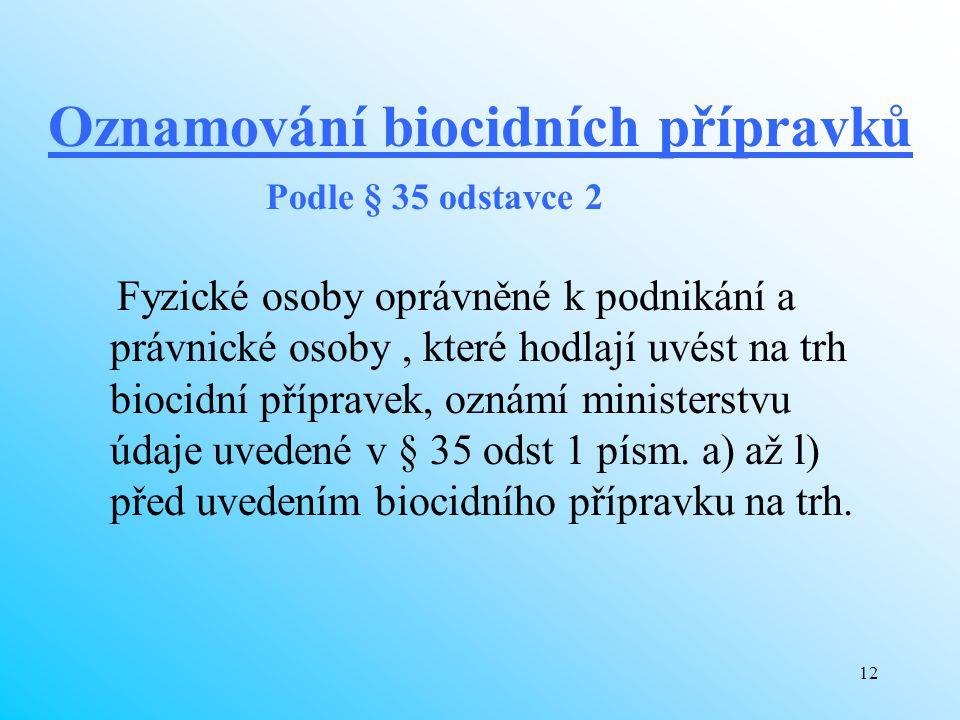 12 Oznamování biocidních přípravků Fyzické osoby oprávněné k podnikání a právnické osoby, které hodlají uvést na trh biocidní přípravek, oznámí minist