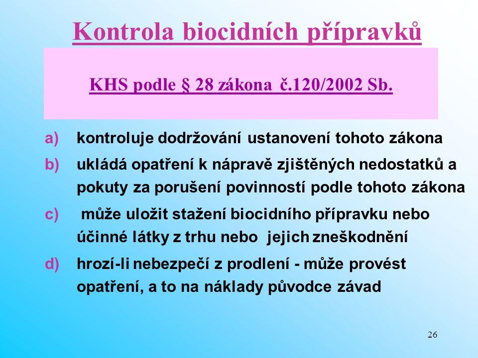 26 Kontrola biocidních přípravků a)kontroluje dodržování ustanovení tohoto zákona b)ukládá opatření k nápravě zjištěných nedostatků a pokuty za poruše