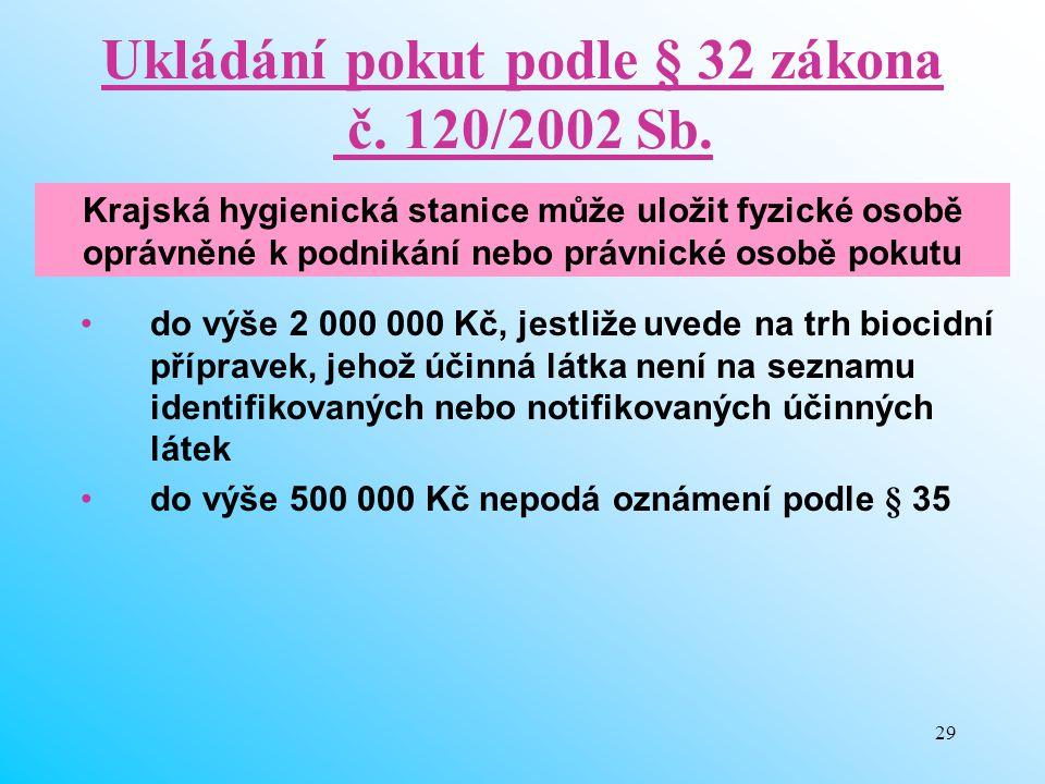 29 Ukládání pokut podle § 32 zákona č. 120/2002 Sb. do výše 2 000 000 Kč, jestliže uvede na trh biocidní přípravek, jehož účinná látka není na seznamu