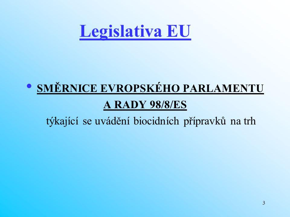 3 Legislativa EU SMĚRNICE EVROPSKÉHO PARLAMENTU A RADY 98/8/ES týkající se uvádění biocidních přípravků na trh
