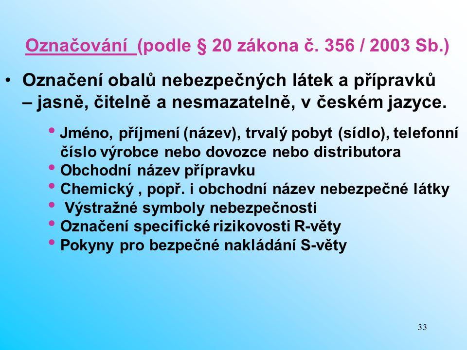 33 Označování (podle § 20 zákona č. 356 / 2003 Sb.) Označení obalů nebezpečných látek a přípravků – jasně, čitelně a nesmazatelně, v českém jazyce. Jm
