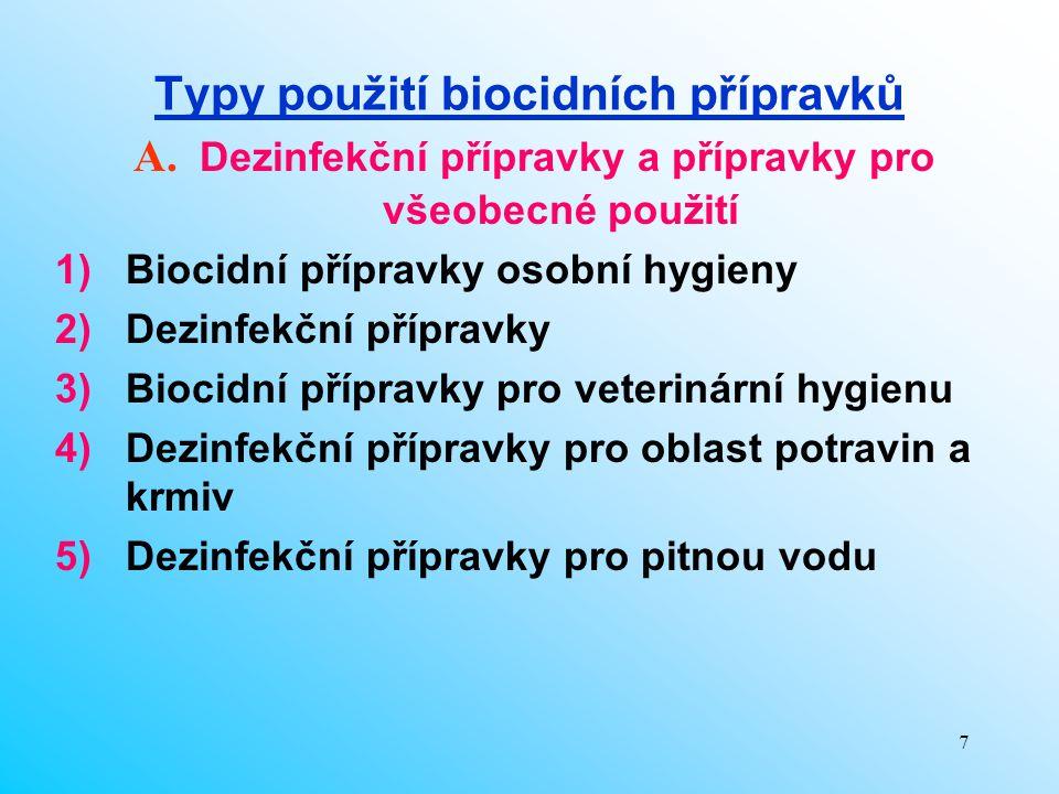 7 Typy použití biocidních přípravků 1)Biocidní přípravky osobní hygieny 2)Dezinfekční přípravky 3)Biocidní přípravky pro veterinární hygienu 4)Dezinfe