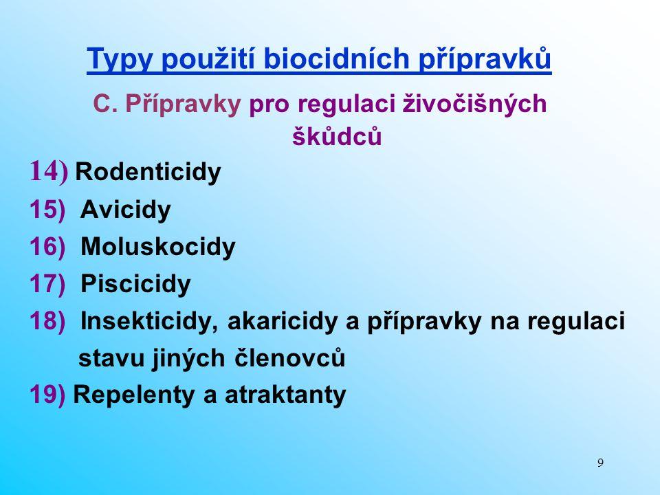9 C. Přípravky pro regulaci živočišných škůdců 14) Rodenticidy 15) Avicidy 16) Moluskocidy 17) Piscicidy 18) Insekticidy, akaricidy a přípravky na reg