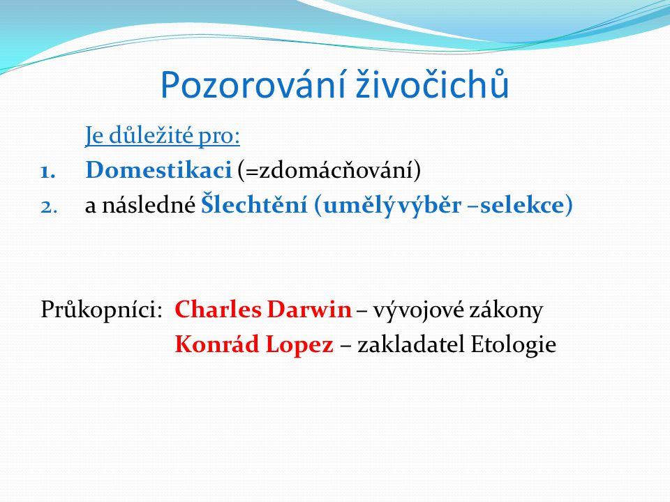 Pozorování živočichů Je důležité pro: 1.Domestikaci (=zdomácňování) 2.a následné Šlechtění (umělý výběr –selekce) Průkopníci:Charles Darwin – vývojové zákony Konrád Lopez – zakladatel Etologie