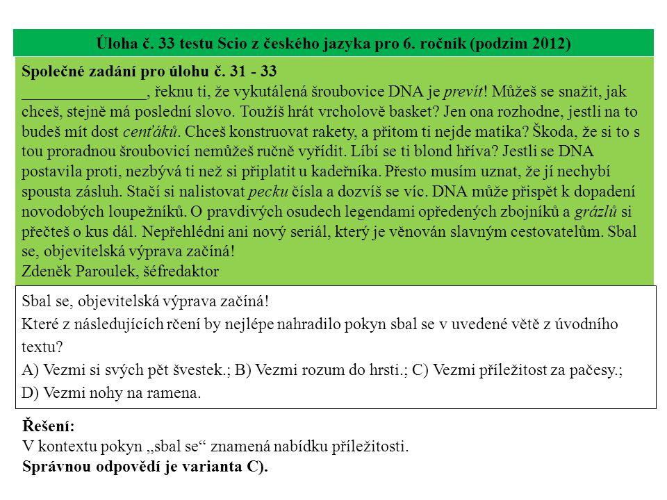 Úloha č. 33 testu Scio z českého jazyka pro 6. ročník (podzim 2012) Sbal se, objevitelská výprava začíná! Které z následujících rčení by nejlépe nahra