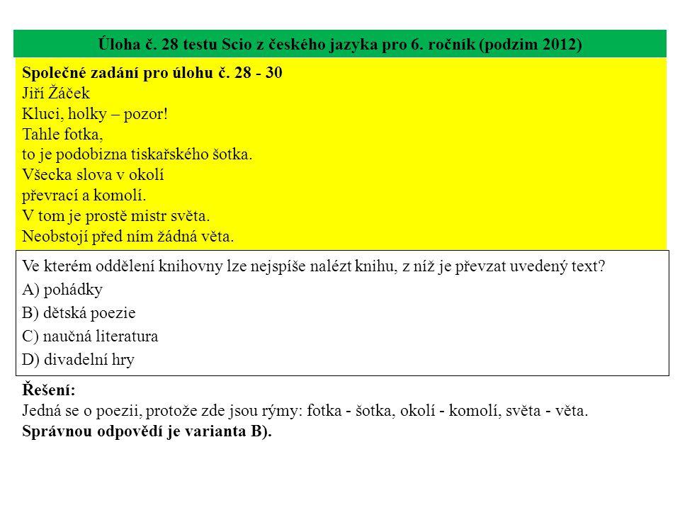 Úloha č. 28 testu Scio z českého jazyka pro 6. ročník (podzim 2012) Ve kterém oddělení knihovny lze nejspíše nalézt knihu, z níž je převzat uvedený te