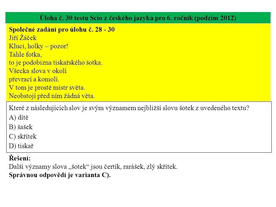 Úloha č. 30 testu Scio z českého jazyka pro 6. ročník (podzim 2012) Které z následujících slov je svým významem nejbližší slovu šotek z uvedeného text