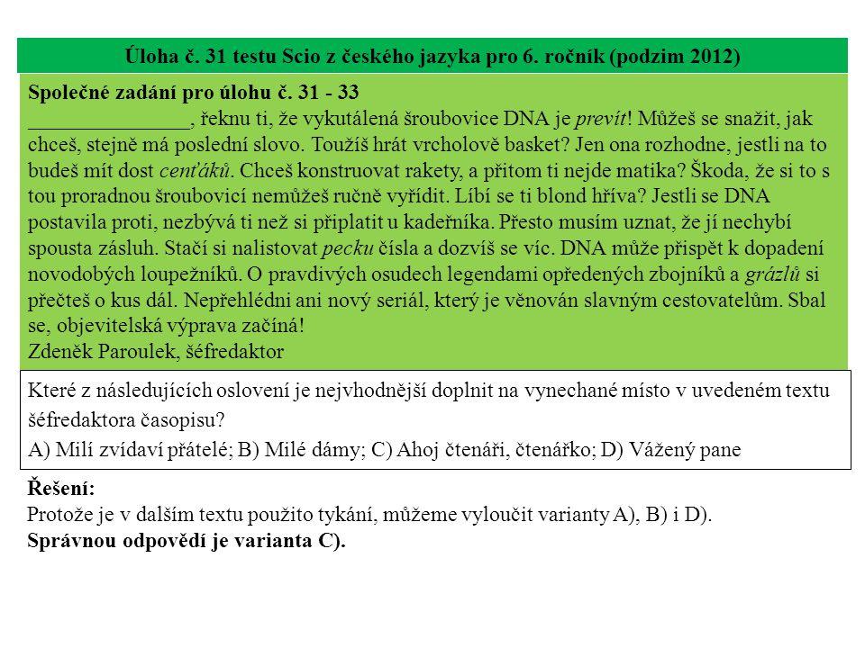 Úloha č. 31 testu Scio z českého jazyka pro 6. ročník (podzim 2012) Které z následujících oslovení je nejvhodnější doplnit na vynechané místo v uveden