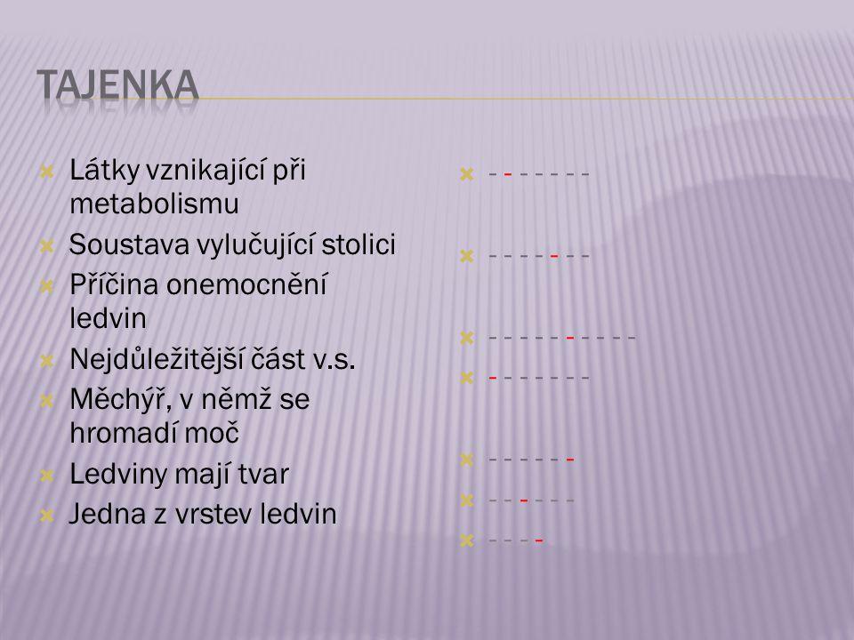  Látky vznikající při metabolismu  Soustava vylučující stolici  Příčina onemocnění ledvin  Nejdůležitější část v.s.