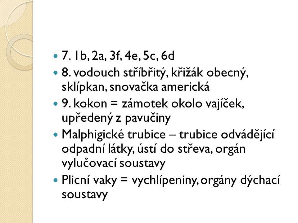 7.1b, 2a, 3f, 4e, 5c, 6d 8. vodouch stříbřitý, křižák obecný, sklípkan, snovačka americká 9.
