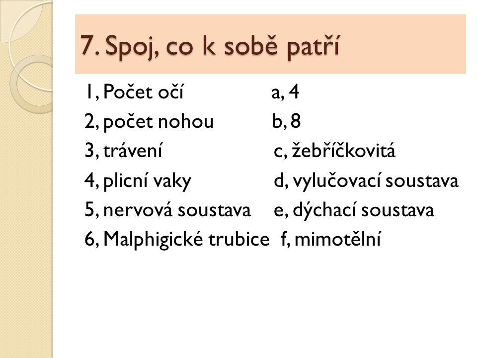 7. Spoj, co k sobě patří 1, Počet očí a, 4 2, počet nohou b, 8 3, trávení c, žebříčkovitá 4, plicní vaky d, vylučovací soustava 5, nervová soustava e,