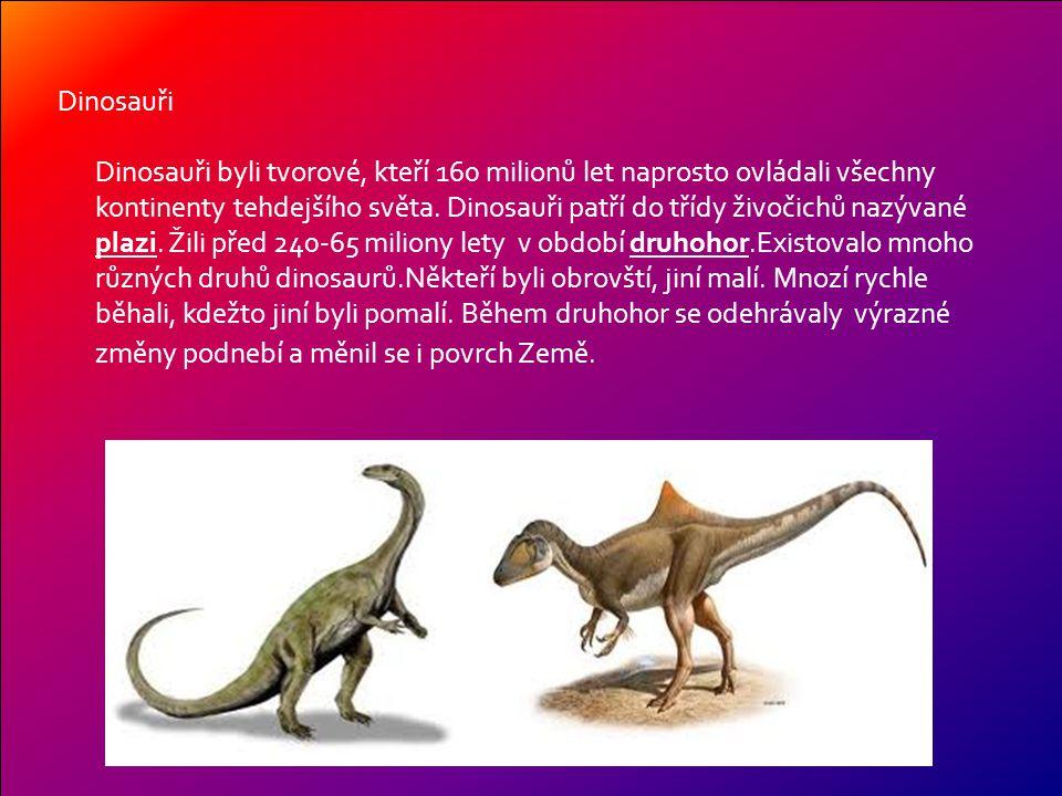 Období, ve kterém dinosauři žili – druhohory - rozdělujeme na tři důležitá období – Trias, Juru a Křídu.