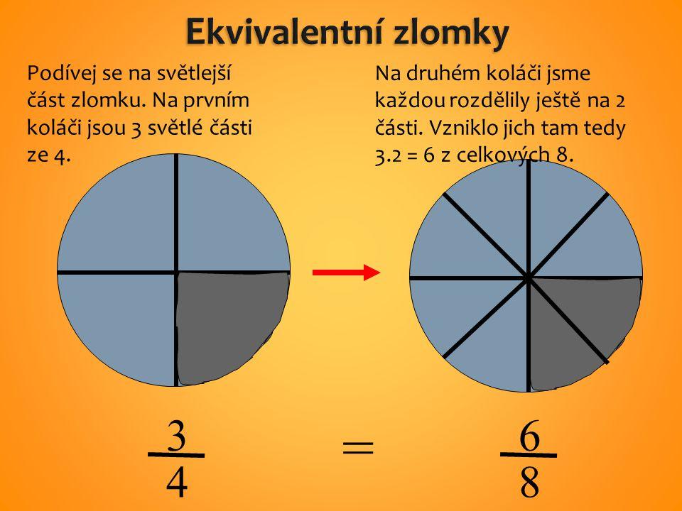 3 4 6 8 = Podívej se na světlejší část zlomku. Na prvním koláči jsou 3 světlé části ze 4.
