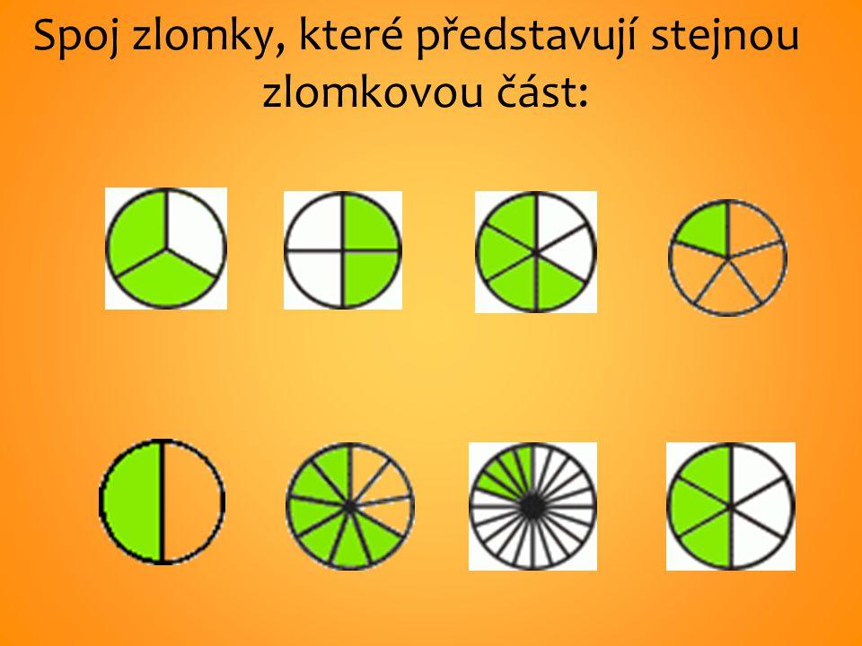 Spoj zlomky, které představují stejnou zlomkovou část: