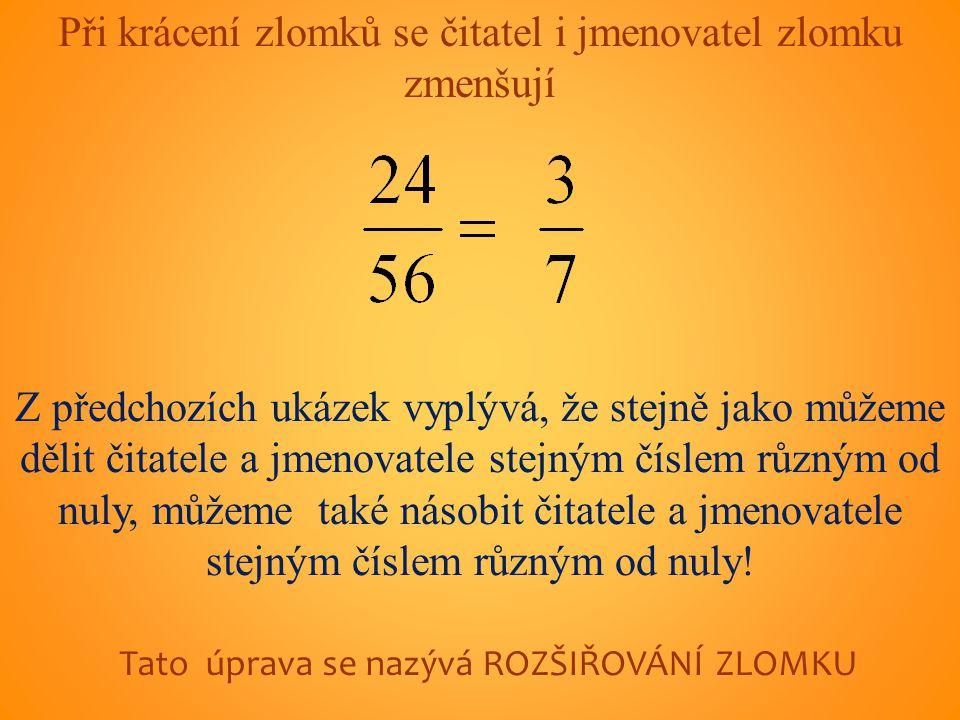 Při krácení zlomků se čitatel i jmenovatel zlomku zmenšují Z předchozích ukázek vyplývá, že stejně jako můžeme dělit čitatele a jmenovatele stejným číslem různým od nuly, můžeme také násobit čitatele a jmenovatele stejným číslem různým od nuly.