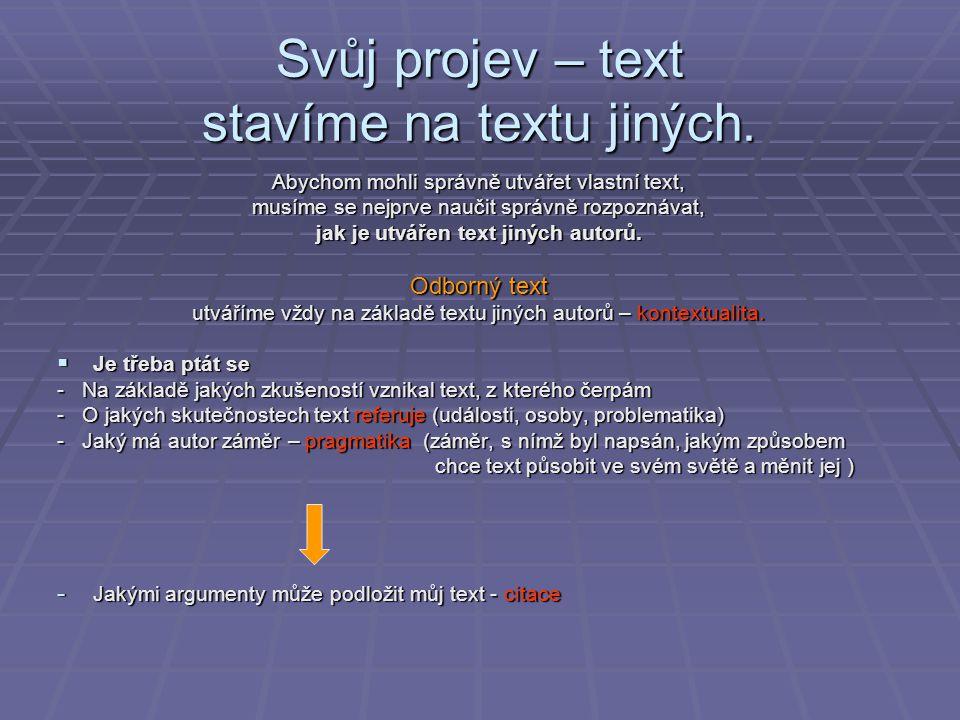 Svůj projev – text stavíme na textu jiných. Abychom mohli správně utvářet vlastní text, musíme se nejprve naučit správně rozpoznávat, jak je utvářen t