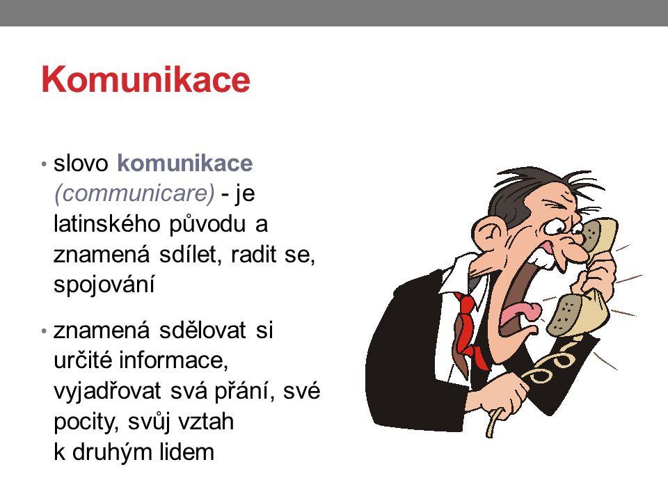 Komunikace slovo komunikace (communicare) - je latinského původu a znamená sdílet, radit se, spojování znamená sdělovat si určité informace, vyjadřova