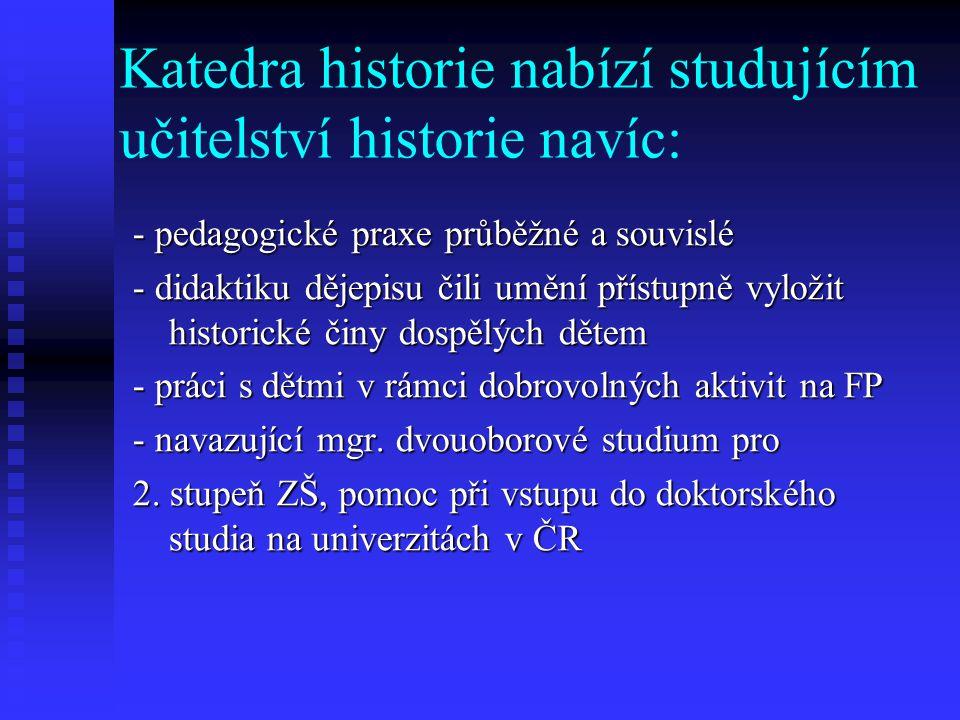Katedra historie umožní všem studujícím historie: - účastnit se celofakultních i republikových studentských soutěží v oboru historie, workshopů a konf