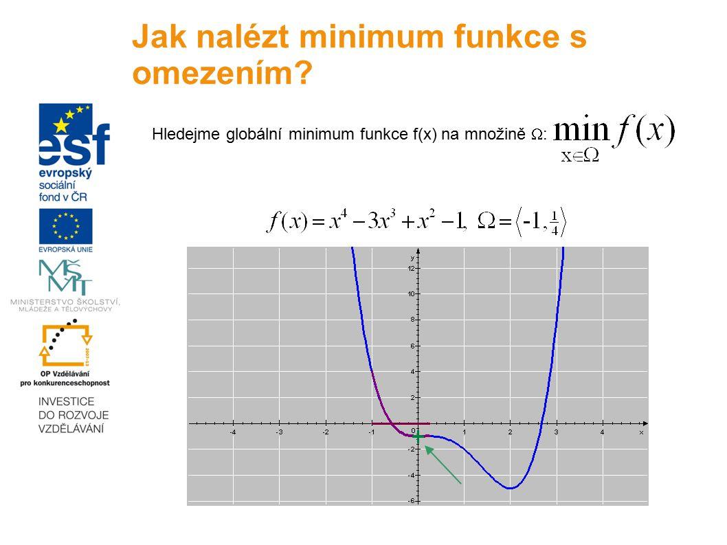 Hledejme globální minimum funkce f(x) na množině  : Jak nalézt minimum funkce s omezením?