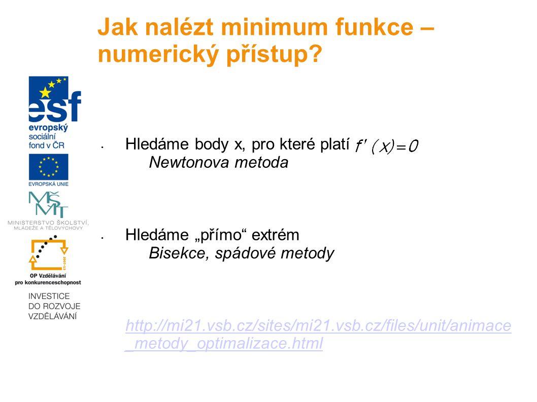 """Hledáme body x, pro které platí Newtonova metoda Hledáme """"přímo"""" extrém Bisekce, spádové metody http://mi21.vsb.cz/sites/mi21.vsb.cz/files/unit/animac"""