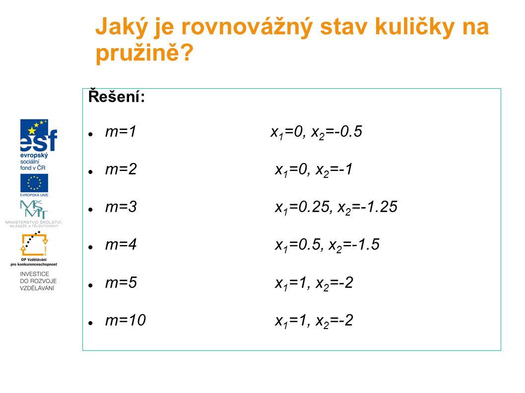 Řešení: m=1x 1 =0, x 2 =-0.5 m=2 x 1 =0, x 2 =-1 m=3 x 1 =0.25, x 2 =-1.25 m=4 x 1 =0.5, x 2 =-1.5 m=5 x 1 =1, x 2 =-2 m=10 x 1 =1, x 2 =-2 Jaký je ro