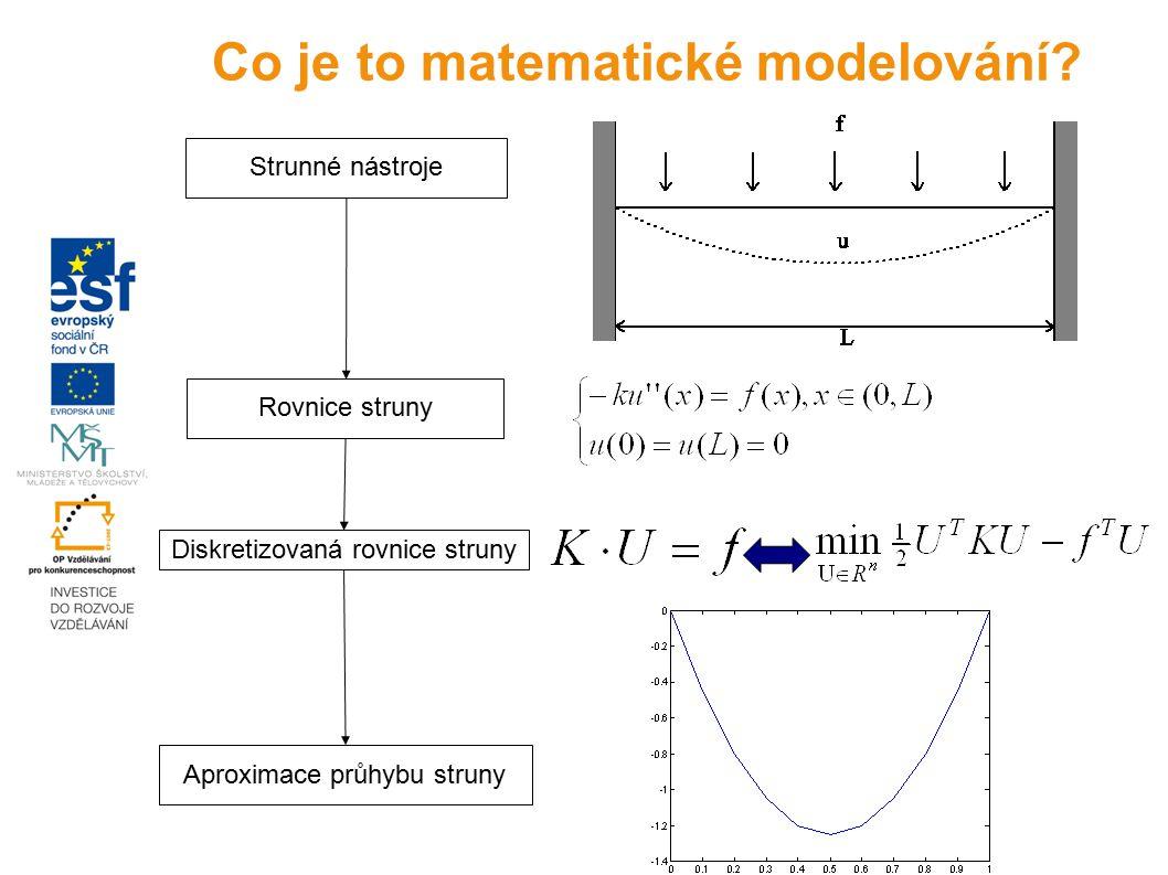 Strunné nástroje Rovnice struny Diskretizovaná rovnice struny Aproximace průhybu struny Co je to matematické modelování?