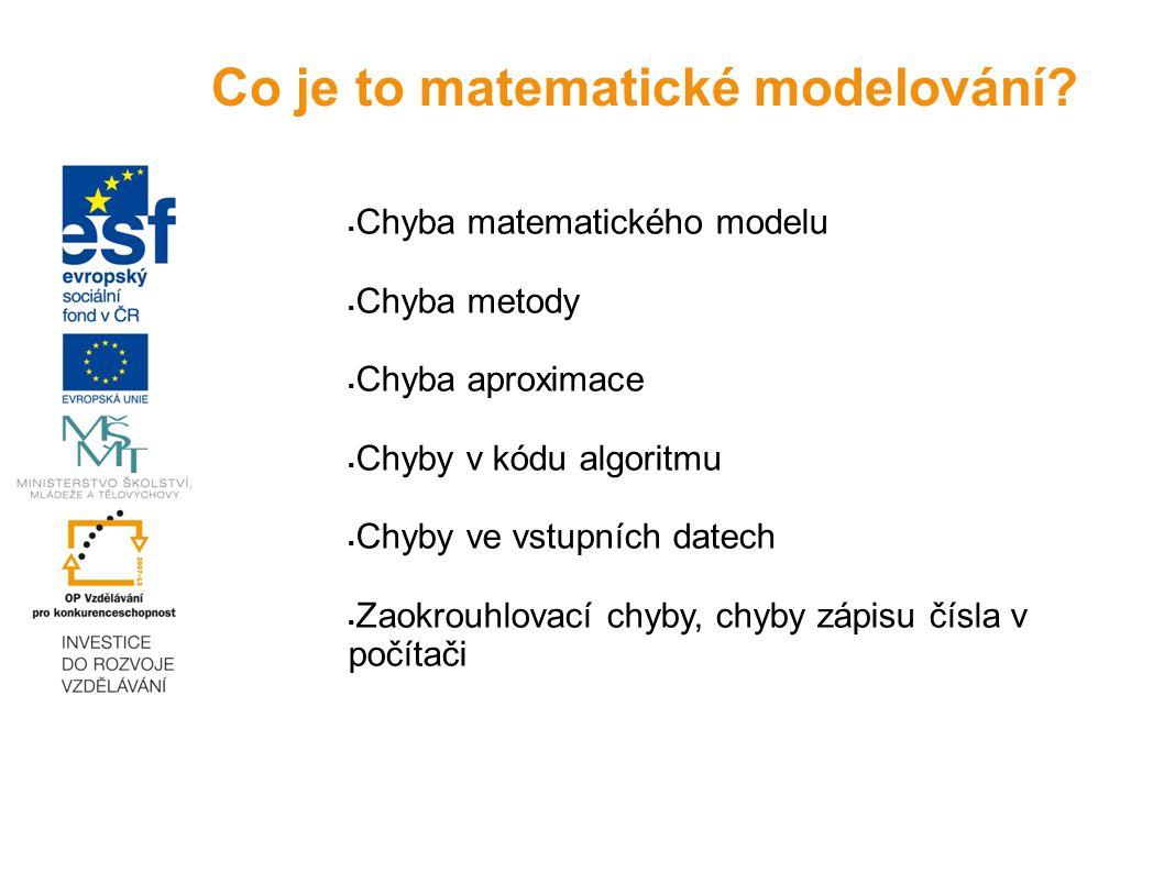 Chyba matematického modelu  Chyba metody  Chyba aproximace  Chyby v kódu algoritmu  Chyby ve vstupních datech  Zaokrouhlovací chyby, chyby zápi