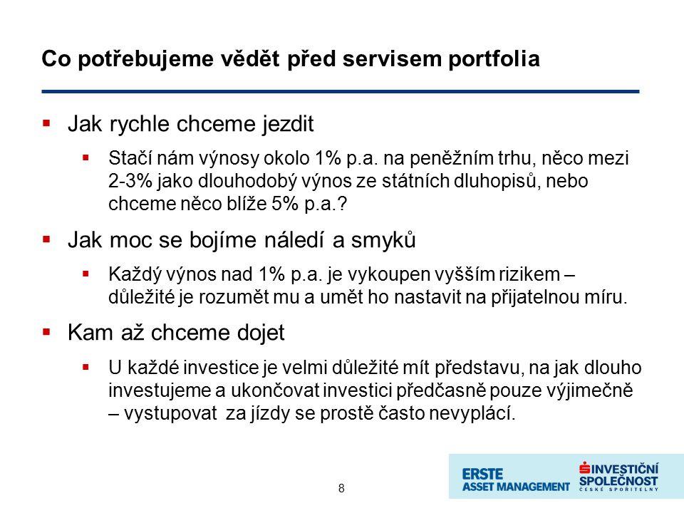 8 Co potřebujeme vědět před servisem portfolia  Jak rychle chceme jezdit  Stačí nám výnosy okolo 1% p.a.