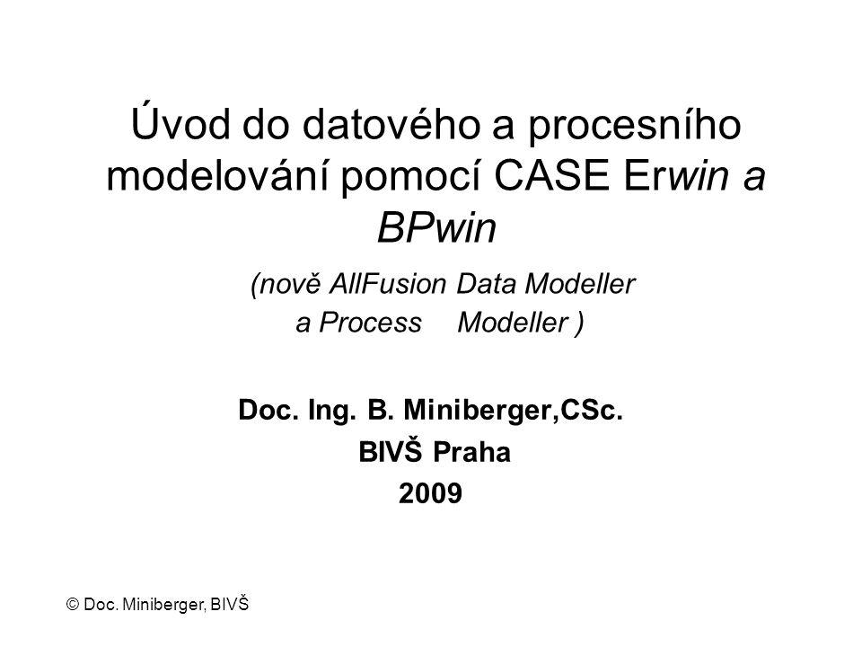 © Doc. Miniberger, BIVŠ Úvod do datového a procesního modelování pomocí CASE Erwin a BPwin (nově AllFusion Data Modeller a Process Modeller ) Doc. Ing