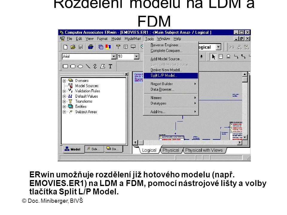 © Doc. Miniberger, BIVŠ Rozdělení modelů na LDM a FDM ERwin umožňuje rozdělení již hotového modelu (např. EMOVIES.ER1) na LDM a FDM, pomocí nástrojové