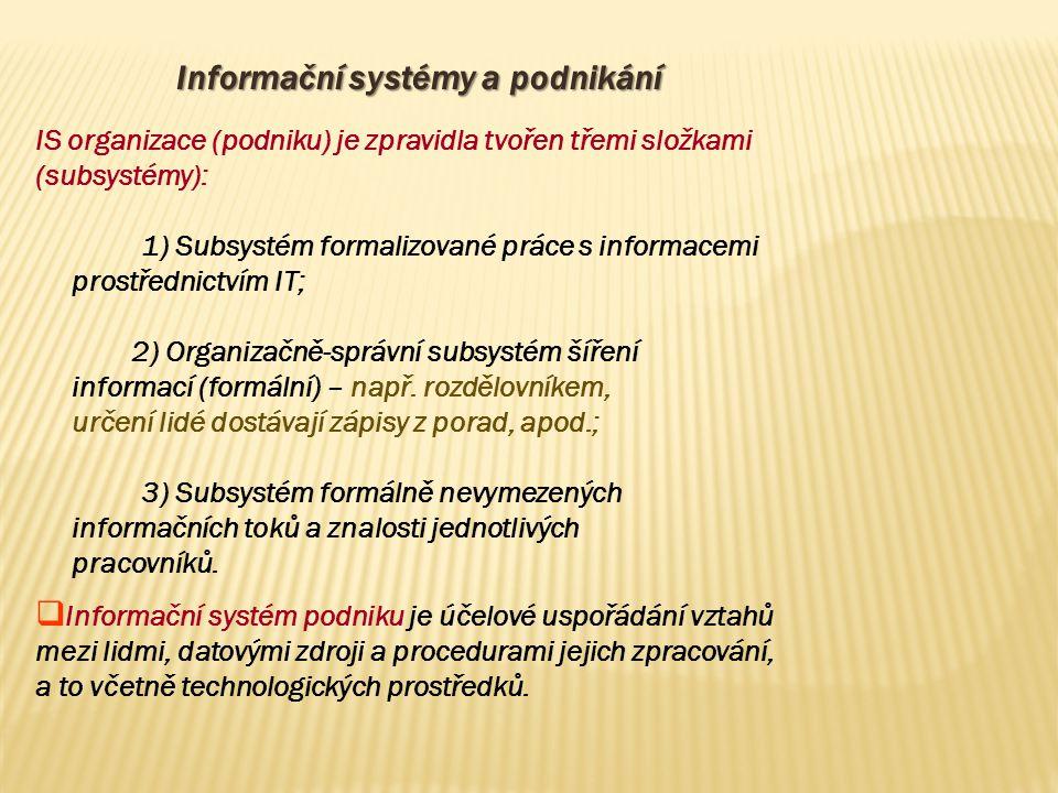 Informační systémy a podnikání IS organizace (podniku) je zpravidla tvořen třemi složkami (subsystémy): 1) Subsystém formalizované práce s informacemi