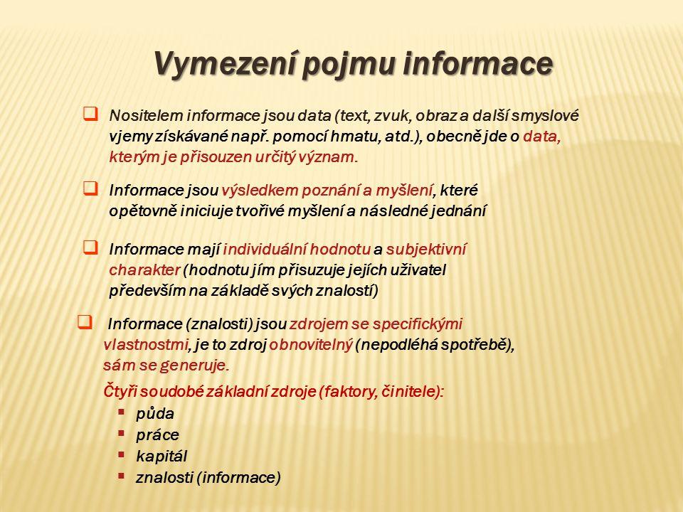 Vymezení pojmu informace  Nositelem informace jsou data (text, zvuk, obraz a další smyslové vjemy získávané např. pomocí hmatu, atd.), obecně jde o d