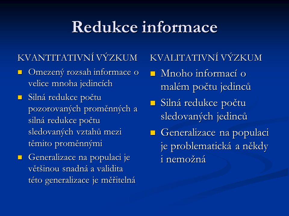 Redukce informace KVANTITATIVNÍ VÝZKUM Omezený rozsah informace o velice mnoha jedincích Omezený rozsah informace o velice mnoha jedincích Silná reduk