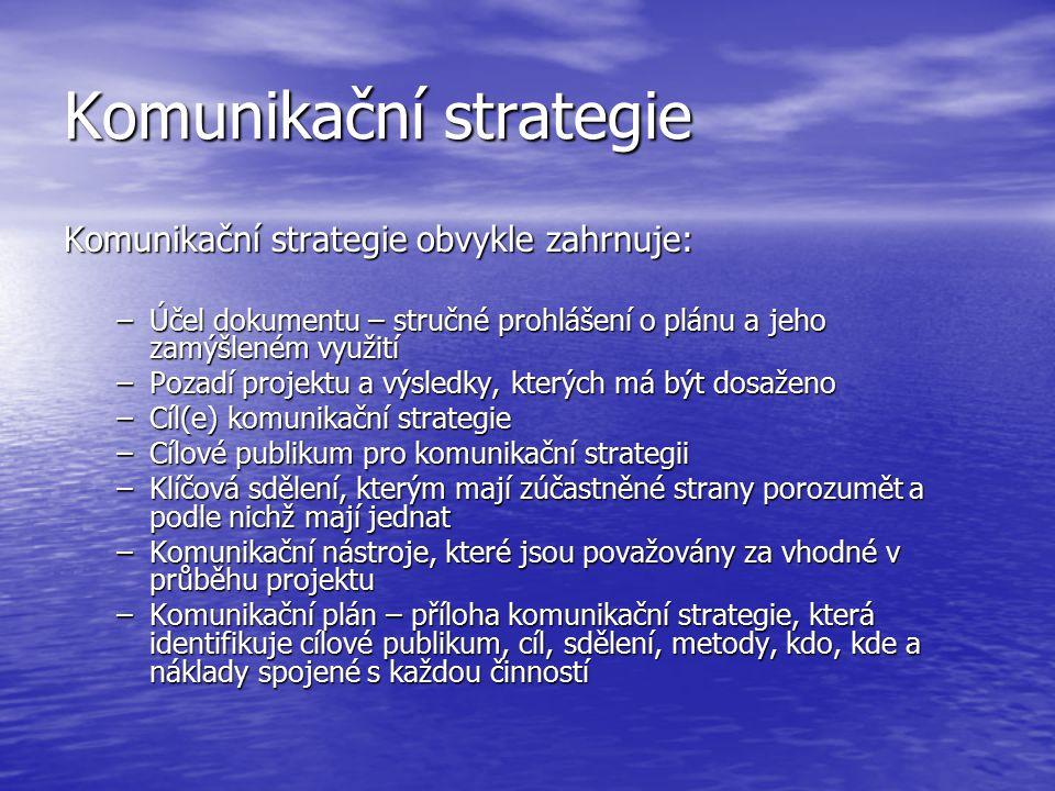Komunikační strategie Komunikační strategie obvykle zahrnuje: –Účel dokumentu – stručné prohlášení o plánu a jeho zamýšleném využití –Pozadí projektu a výsledky, kterých má být dosaženo –Cíl(e) komunikační strategie –Cílové publikum pro komunikační strategii –Klíčová sdělení, kterým mají zúčastněné strany porozumět a podle nichž mají jednat –Komunikační nástroje, které jsou považovány za vhodné v průběhu projektu –Komunikační plán – příloha komunikační strategie, která identifikuje cílové publikum, cíl, sdělení, metody, kdo, kde a náklady spojené s každou činností