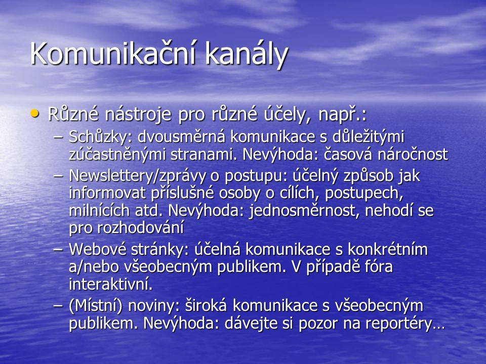 Komunikační kanály Různé nástroje pro různé účely, např.: Různé nástroje pro různé účely, např.: –Schůzky: dvousměrná komunikace s důležitými zúčastně