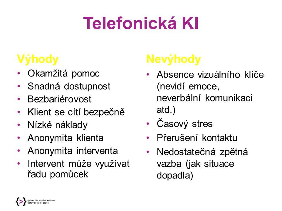 Telefonická KI Výhody Okamžitá pomoc Snadná dostupnost Bezbariérovost Klient se cítí bezpečně Nízké náklady Anonymita klienta Anonymita interventa Intervent může využívat řadu pomůcek Nevýhody Absence vizuálního klíče (nevidí emoce, neverbální komunikaci atd.) Časový stres Přerušení kontaktu Nedostatečná zpětná vazba (jak situace dopadla)