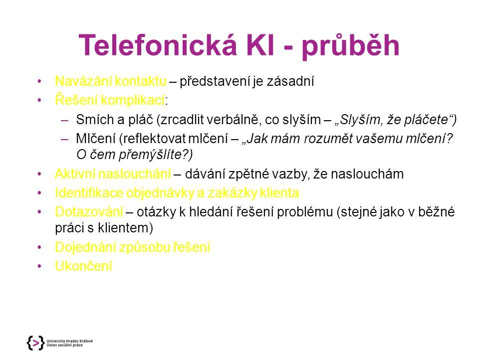 """Telefonická KI - průběh Navázání kontaktu – představení je zásadní Řešení komplikací: –Smích a pláč (zrcadlit verbálně, co slyším – """"Slyším, že pláčete ) –Mlčení (reflektovat mlčení – """"Jak mám rozumět vašemu mlčení."""