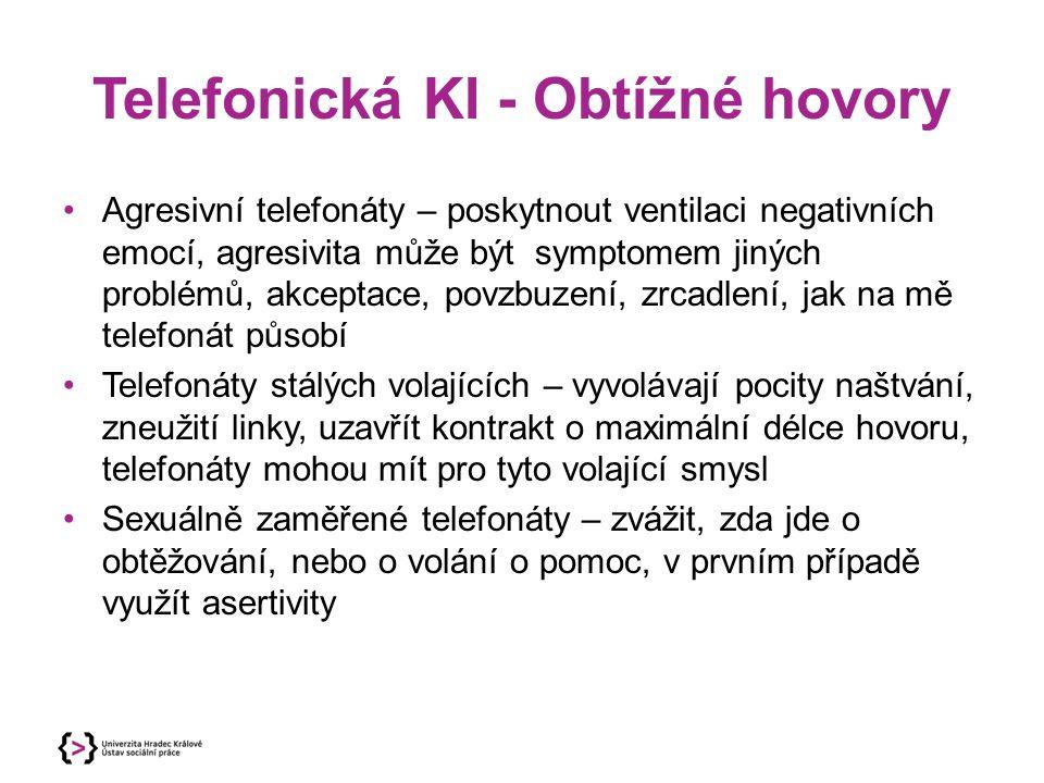 Telefonická KI - Obtížné hovory Agresivní telefonáty – poskytnout ventilaci negativních emocí, agresivita může být symptomem jiných problémů, akceptac