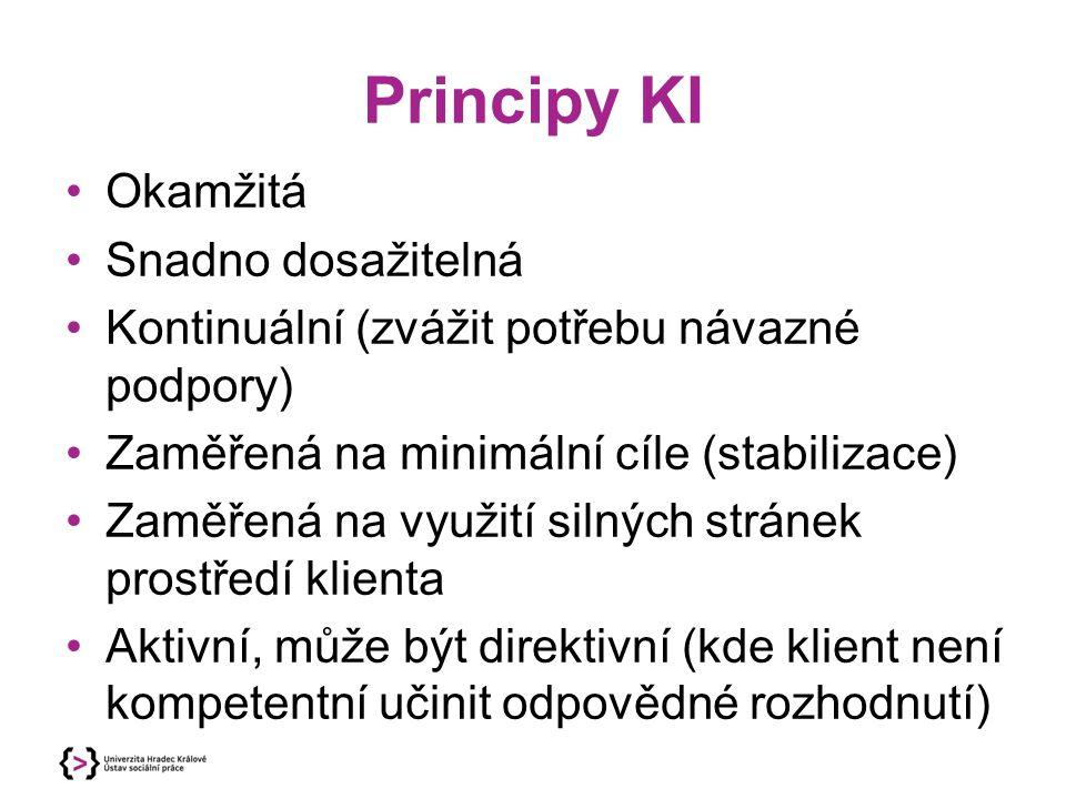 Principy KI Okamžitá Snadno dosažitelná Kontinuální (zvážit potřebu návazné podpory) Zaměřená na minimální cíle (stabilizace) Zaměřená na využití silných stránek prostředí klienta Aktivní, může být direktivní (kde klient není kompetentní učinit odpovědné rozhodnutí)