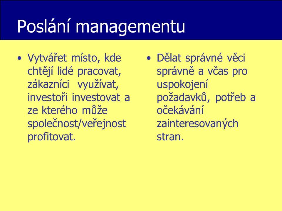 Poslání managementu Vytvářet místo, kde chtějí lidé pracovat, zákazníci využívat, investoři investovat a ze kterého může společnost/veřejnost profitov