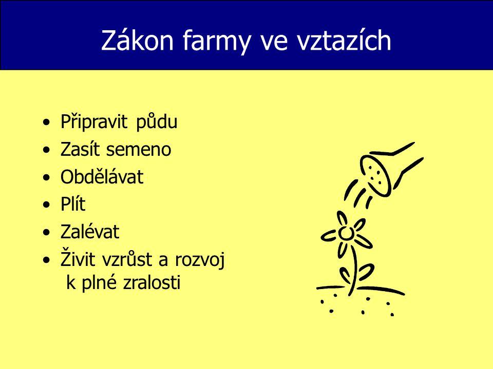 Zákon farmy ve vztazích Připravit půdu Zasít semeno Obdělávat Plít Zalévat Živit vzrůst a rozvoj k plné zralosti