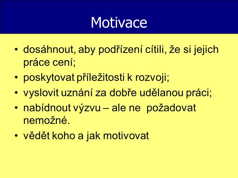 Motivace dosáhnout, aby podřízení cítili, že si jejich práce cení; poskytovat příležitosti k rozvoji; vyslovit uznání za dobře udělanou práci; nabídno